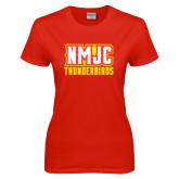 Ladies Red T Shirt-NMJC Thunderbirds Lettermark