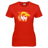 Ladies Red T Shirt-NM Head Logo