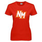 Ladies Red T Shirt-NM Lettermark