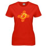 Ladies Red T Shirt-Thunderbirds Zia Logo