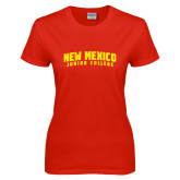 Ladies Red T Shirt-Arched New Mexico Junior College