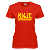 Ladies Red T Shirt-NMJC Thunderbirds Stencil Bar