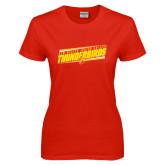Ladies Red T Shirt-Slanted Thunderbirds Stencil