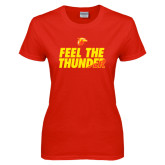 Ladies Red T Shirt-Feel The Thunder