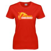 Ladies Red T Shirt-Primary Logo Distressed