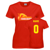 Ladies Red T Shirt-Primary Logo, Custom Tee w/ Name and #