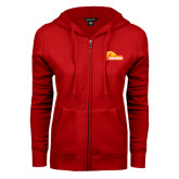 ENZA Ladies Red Fleece Full Zip Hoodie-Primary Logo