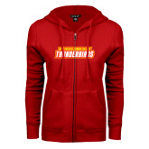ENZA Ladies Red Fleece Full Zip Hoodie-Thunderbirds Word Mark