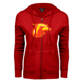 ENZA Ladies Red Fleece Full Zip Hoodie-Thunderbird Head