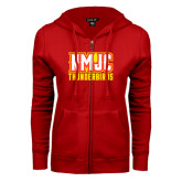 ENZA Ladies Red Fleece Full Zip Hoodie-NMJC Thunderbirds Lettermark