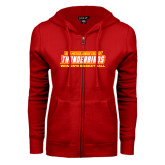 ENZA Ladies Red Fleece Full Zip Hoodie-Womens Basketball