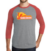 Grey/Red Heather Tri Blend Baseball Raglan-Primary Logo