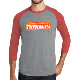 Grey/Red Heather Tri Blend Baseball Raglan-Thunderbirds Word Mark