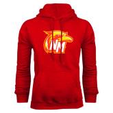 Red Fleece Hoodie-NM Head Logo