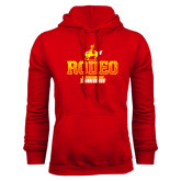 Red Fleece Hoodie-Rodeo Textured with Rider