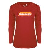 Ladies Syntrel Performance Red Longsleeve Shirt-Thunderbirds Word Mark