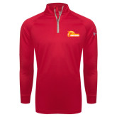 Under Armour Red Tech 1/4 Zip Performance Shirt-Primary Logo