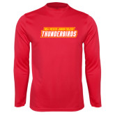 Performance Red Longsleeve Shirt-Thunderbirds Word Mark