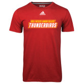 Adidas Climalite Red Ultimate Performance Tee-Thunderbirds Word Mark
