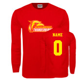 Red Long Sleeve T Shirt-Primary Logo, Custom Tee w/ Name and #