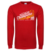 Red Long Sleeve T Shirt-2019 Baseball Champions