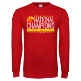 Red Long Sleeve T Shirt-2019 NJCAA National Outdoor Track and Field Champions