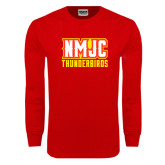 Red Long Sleeve T Shirt-NMJC Thunderbirds Lettermark