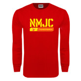 Red Long Sleeve T Shirt-NMJC Thunderbirds Stencil Bar