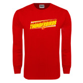 Red Long Sleeve T Shirt-Slanted Thunderbirds Stencil