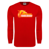 Red Long Sleeve T Shirt-Primary Logo Distressed
