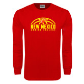 Red Long Sleeve T Shirt-New Mexico Junior College Basketball Half Ball