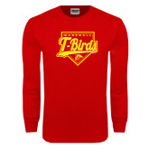 Red Long Sleeve T Shirt-T-Birds Baseball Script and Plate