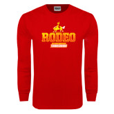 Red Long Sleeve T Shirt-Rodeo Textured with Rider