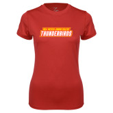 Ladies Syntrel Performance Red Tee-Thunderbirds Word Mark