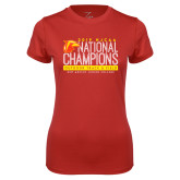 Ladies Syntrel Performance Red Tee-2019 NJCAA National Outdoor Track and Field Champions