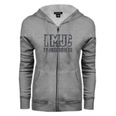 ENZA Ladies Grey Fleece Full Zip Hoodie-NMJC Thunderbirds Lettermark Graphite Glitter