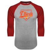 Grey/Red Raglan Baseball T Shirt-T-Birds Baseball Script and Plate