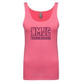 Next Level Ladies Junior Fit Fuchsia Jersey Tank-NMJC Thunderbirds Lettermark Pink Glitter