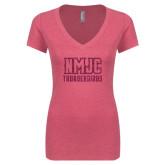 Next Level Ladies Vintage Pink Tri Blend V-Neck Tee-NMJC Thunderbirds Lettermark Hot Pink Glitter