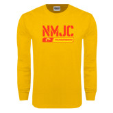 Gold Long Sleeve T Shirt-NMJC Thunderbirds Stencil Bar