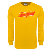 Gold Long Sleeve T Shirt-Slanted Thunderbirds Stencil