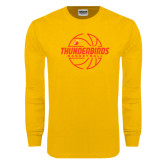 Gold Long Sleeve T Shirt-Thunderbirds Basketball Lined Ball