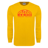 Gold Long Sleeve T Shirt-New Mexico Junior College Basketball Half Ball