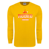 Gold Long Sleeve T Shirt-Rodeo Textured with Rider