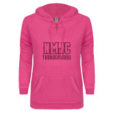 ENZA Ladies Hot Pink V Notch Raw Edge Fleece Hoodie-NMJC Thunderbirds Lettermark Hot Pink Glitter