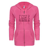 ENZA Ladies Hot Pink Light Weight Fleece Full Zip Hoodie-NMJC Thunderbirds Lettermark Hot Pink Glitter