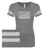 ENZA Ladies Dark Heather/White Vintage Triblend Football Tee-NMJC Thunderbirds Lettermark White Soft Glitter