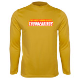 Performance Gold Longsleeve Shirt-Thunderbirds Word Mark