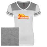 Ladies White/Heathered Nickel Juniors Varsity V Neck Tee-Primary Logo