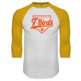 White/Gold Raglan Baseball T Shirt-T-Birds Baseball Script and Plate